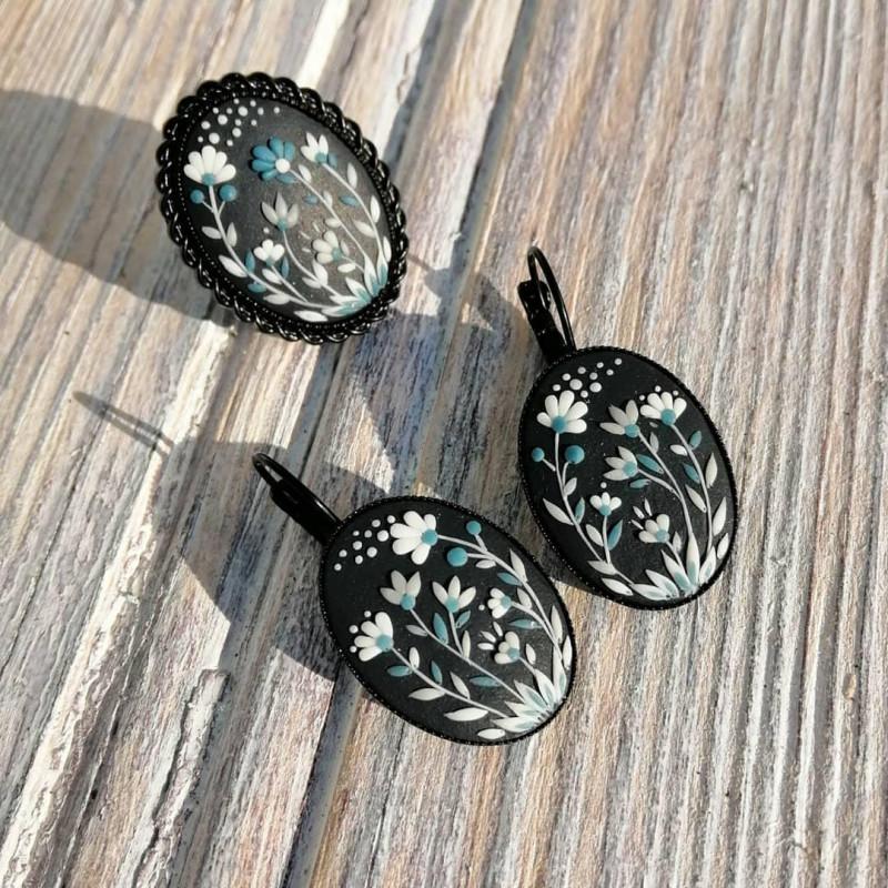 Цветочный комплект, серьги и кольцо